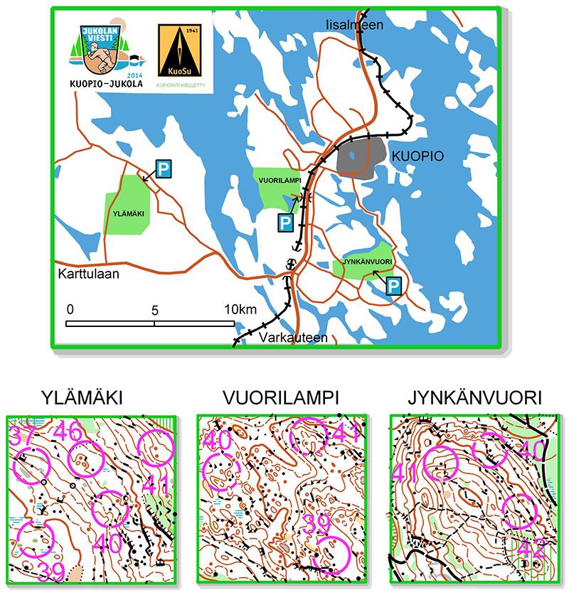 Kuopio-Jukolan tarjoamat harjoittelualueet kaupungin läheisyydessä