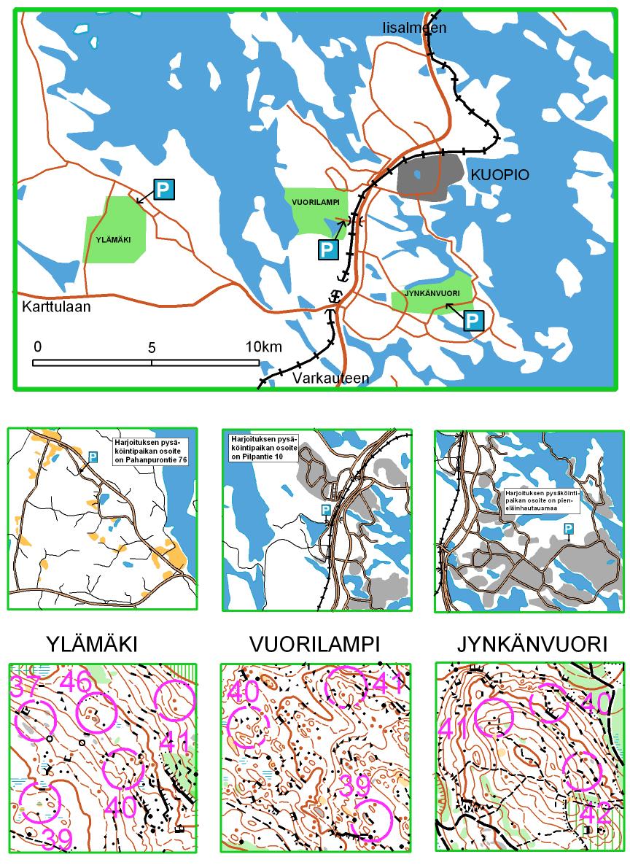 Kuopio-Jukolan tarjoamat harjoittelualueet kaupungin läheisyydessä.